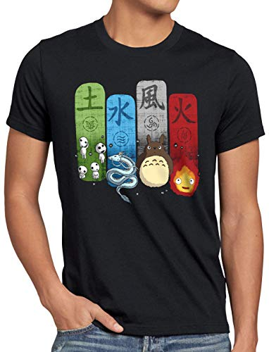 style3 Ghibli Family Herren T-Shirt Totoro Mononoke Schloss Chihiro Film, Größe:XL, Farbe:Schwarz