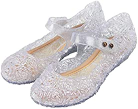 Cinderella or Snow Queen Princess Costumes Crystal Jelly Flats Shoes for Little Girls, Toddler or Kids US Size 8.5 White/Silver