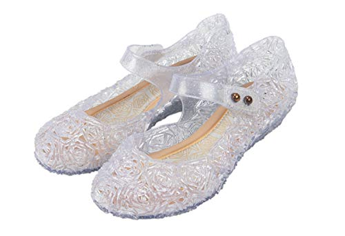 Cinderella or Snow Queen Princess Costumes Crystal Jelly Flats Shoes for Little Girls, Toddler or Kids US Size 11 White/Silver