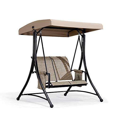 PURPLE LEAF 2-Seat Deluxe Outdoor Patio Porch Swing with Weather Resistant Steel Frame, Adjustable Tilt Canopy, Beige
