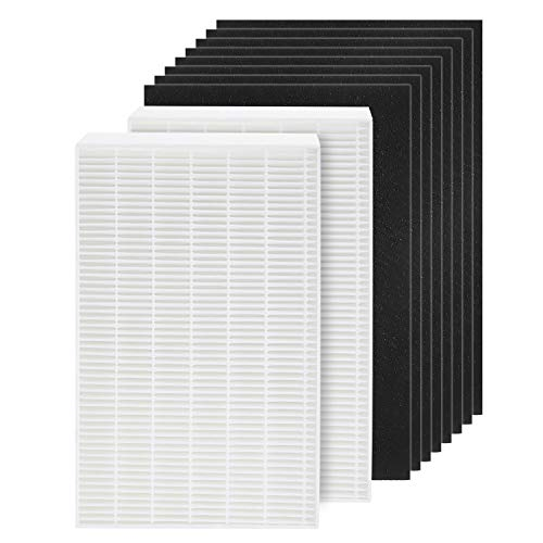 isinlive 2 True HEPA Filter Replacement Compatible with Honeywell HPA100 Series Air Purifier, Plus 8 Precut Activated Carbon Pre Filters, Filter R, HRF-R1, HPA094,HPA100, HPA101, HPA104, HPA105, HA106