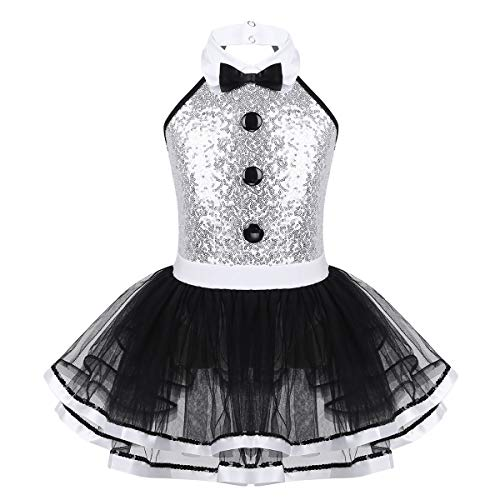 iixpin Vestido de Danza Ballet Niña Vestido Lentejuelas de Gimnasia Ritmica sin Mangas Maillot Tutú Princesa de Patinaje Ártistico Disfraz Bailarina Niña 4-12 Años