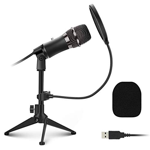 USB Microphone, EIVOTOR PC Microphone Plug and Play with Tripod Stand, Pop...