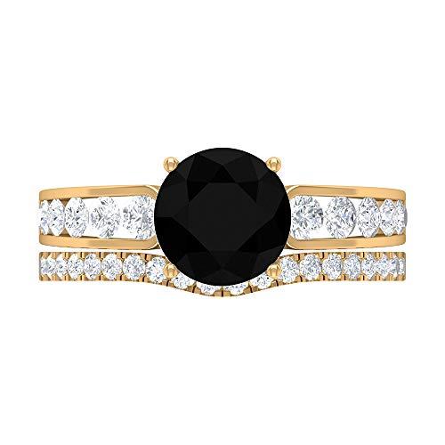 Anillo de diamante negro solitario de 8 mm, anillo de compromiso con detalles de diamante HI-SI, anillo de novia solitario, anillo de eternidad de oro, 10K Oro amarillo, Size:EU 55