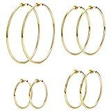 LOYALLOOK 4 Pairs Stainless Steel Clip On Hoop Earrings for Women Fake Hoop Earrings Spring Hoop Earrings For Non-Pierced Ears