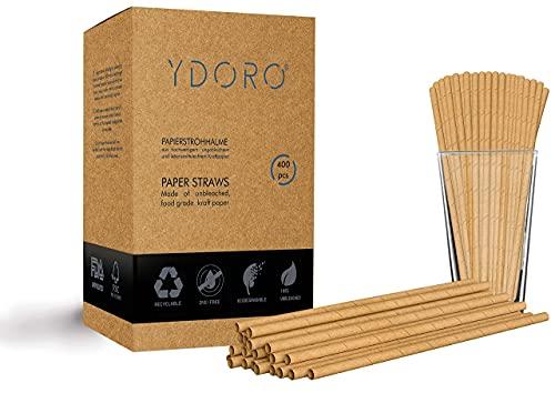 YDORO | Papierstrohhalme 400 STK. | Strohhalme aus biologisch abbaubarem Kraftpapier | Papier Trinkhalme Einweg | Trinkhalme recyclebar