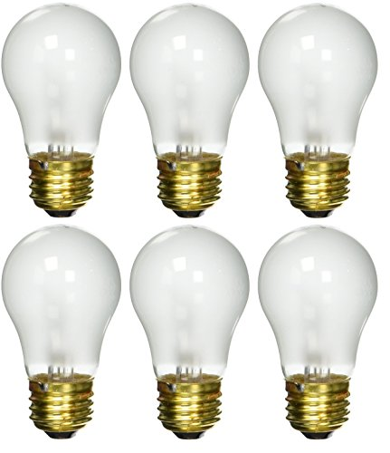Sterl Lighting - Pack of 6 A15 Frosted Flame Decorative Appliance Incandescent Light Bulb , 15 Watts , 120 Volts , E26 Medium Standard Household Base , 2700K , 85 Lumens