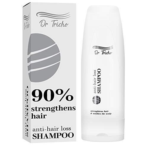 Dr Tricho Anti-Haarausfall Shampoo | 200 ml | Stärkt die Haarzwiebeln & Beruhigt die Kopfhaut | Enthält natürliche Wirkstoffe: Koffein, Grüntee-Extrakt und Rizinusöl