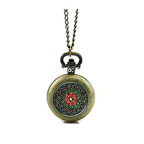 Mandala - Reloj de bolsillo con medallón de cristal