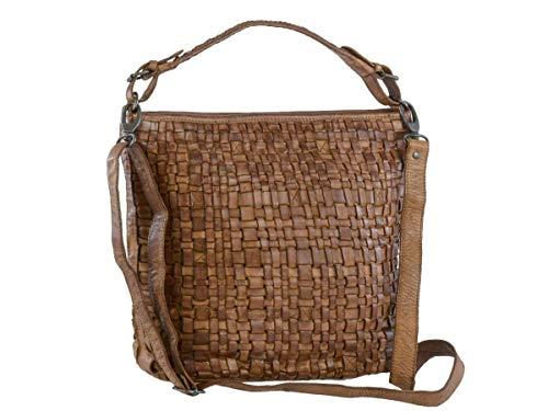 Bear Design Handtasche Damen Tasche Leder Schultertasche Flechtoptik Shopper Cognac braun für Damen Frauen