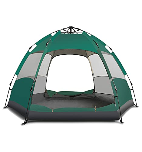 Mianbaoshu Automatic Waterproof Camping Tent for 3-5 Persons,Big Size Oxford Cloth Double Layer Family Camping Tent with Instant Setup.