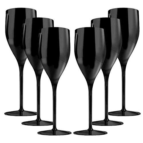 TUNDRA ICE INTERNATIONAL Set 6 Pezzi Flute 18 Cl in Policarbonato (Plastica Rigida), Calici Vino 100% Design Italiano, Bicchieri Infrangibili, Riutilizzabili e Lavabili in Lavastoviglie, Nero