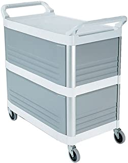 Rubbermaid FG409300OWHT Kitchen Utility Cart - Plastic, Enclosed on 3 Sides