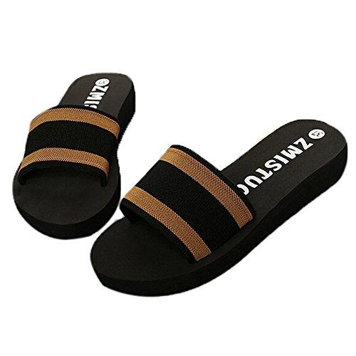 FOANA Sommer Damen Schuhe Plattform Badeschuhe Keil Strand Flip Flops Hausschuhe Schuhe