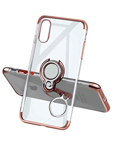 Yoopake iPhone Xs Max Case Clear Slim Fit Ultra Thin Cover with Grip Ring Holder Stand (360
