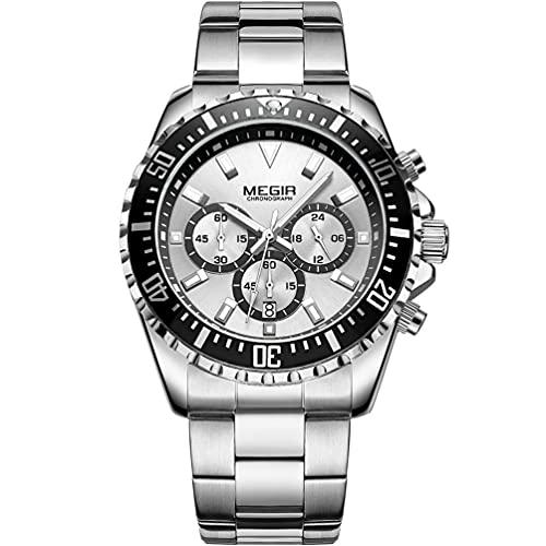 MEGIR Reloj de pulsera analógico de cuarzo para hombre, con cronógrafo, resistente al agua, color negro y plateado, esfera redonda con lujosa correa de acero inoxidable plateada para hombres