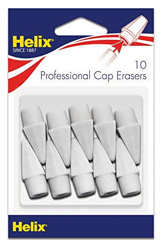 Maped Helix USA Helix Professional Pencil Cap Latex Free Oversized Erasers 10ct (37360), White