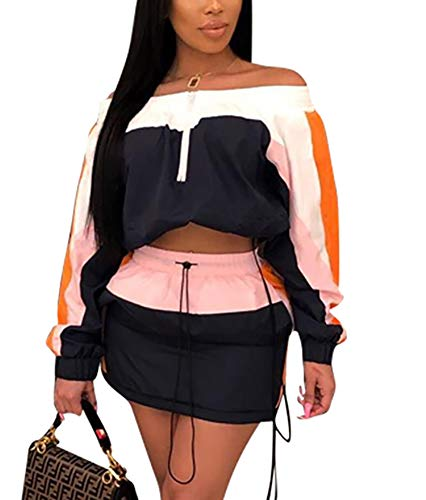 EOSIEDUR Women 2 Piece Outfits Tracksuit Jumpsuits Lightweight Windbreaker Pullover Jacket Crop Top Pants Set