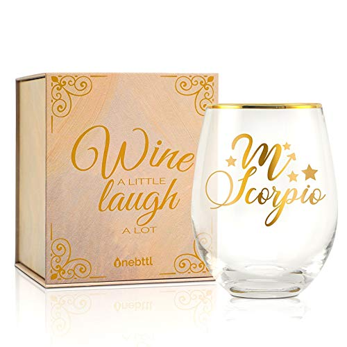 Onebttl Znak zodiaku Skorpion Kieliszki do wina, unikalne kieliszki do wina, bez nóżki październik listopad urodziny kieliszki do wina, konstelacja prezenty dla kobiet, dziewczyny, przyjaciela, znajomej, żony - na urodziny, Boże Narodzenie