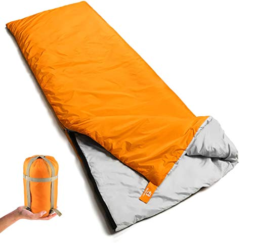 Bessport Lightweight Sleeping Bag, 1-2 Person Camping Sleeping Bag for 3 Season with Compression Sack Fits Kid/Adults Traveling, Backpacking, Hiking, Outdoor Activities (1 Person Orange)