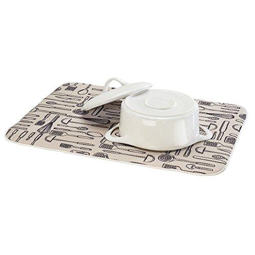 InterDesign iDry Tapete de Cocina, Alfombrilla escurreplatos Extragrande y Gruesa de poliéster y Microfibra para un Secado rápido, Blanco/Negro