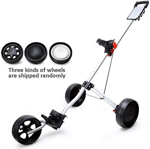 JWCN Golf Push Cart Golf Trolley Cart mit Bremse Golf Cart 3-Rad Push Pull Golf Cart Faltbarer Trolley Golfzubehör aus Aluminiumlegierung Uptodate
