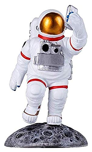 WQQLQX Statue Astronauten Walk Sculpture Haushalt Harz Handwerk Desktop Dekoration Statue iPad Halter Universal Mobiltelefonhalter Geburtstagsgeschenk Figuren Skulpturen
