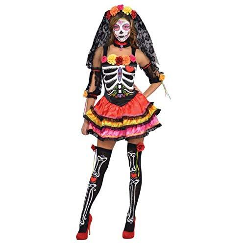Amscan- Costume Day of The Dead (M). Contiene: Vestito, Tiara con Velo, Maniche, Leggins, Multicolore, 7AM844640-55