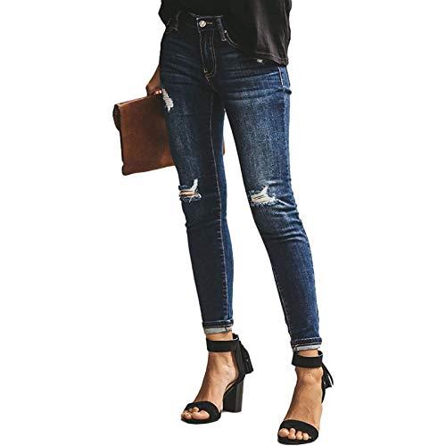 Europa y América Mujeres Slim Fit Ripped Jeans Daily Leisure Streetwear Endurance Mid Waist Lápiz Pantalones de Mezclilla con Bolsillos L