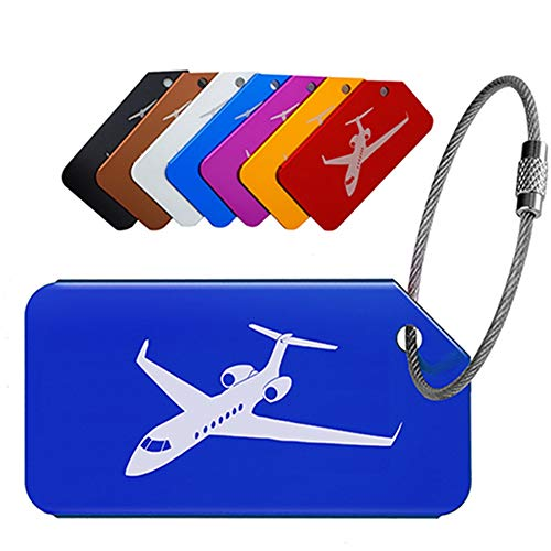 Egurs kofferaanhanger,7 stuks vliegtuig kruisvaart patroon aluminium bagageaanhanger koffer tags met naamplaatje adresbord