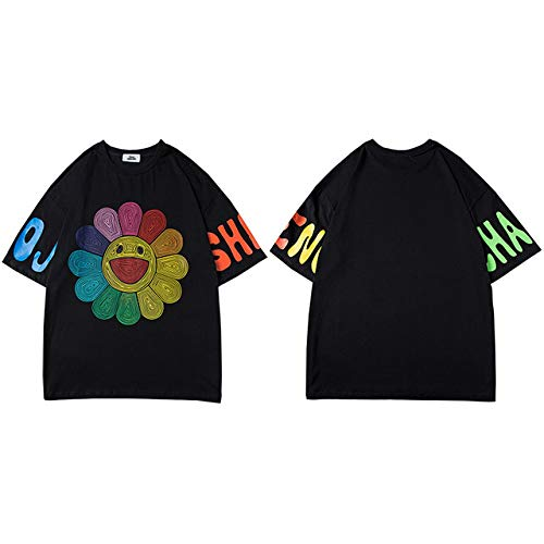 GVDFSEYL Heren Hip Hop T-shirt, zonnebloemen, regenboogkleuren, streetwear T-shirt Harajuku zomer korte mouwen T-shirt katoen tops