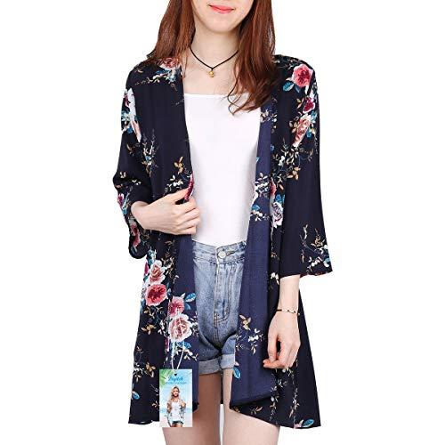 Digitek Direct Women Chiffon Loose Shawl – Chiffon Floral Print Kimono Cardigan Cover Up Boho Summer Casual Blouse Beach Swimwear