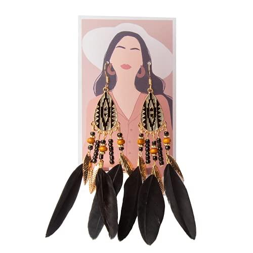 Skylarlife - Pendientes bohemios de plumas largos con diseño de plumas étnico, estilo hippie, estilo nativo para mujer, Zinc, Sin piedras preciosas,