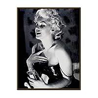 キャンバスポスター印刷、ベッドルームの家の装飾のための壁にマリリン・モンロークラシックアクション黒と白のポスター絵画再生画像、枠なしません,C,60×80cm