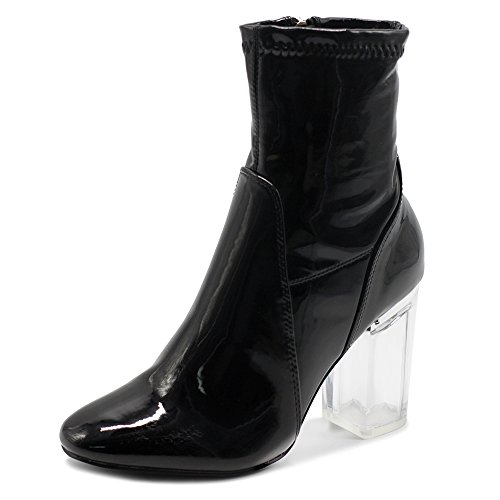 Ollio Women's Shoe Enamel Patent Side Zip Up Clear High Heel Ankle Boots MGB25 (9 B(M) US, Black)