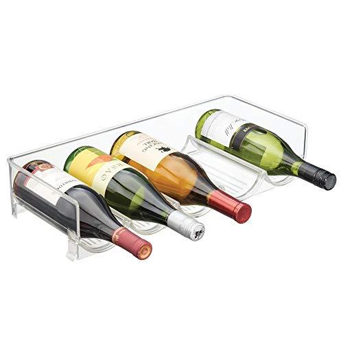 mDesign Flaschenhalter für Kühlschrank - stapelbarer Weinständer für 5 Flaschen - Getränkeaufbewahrung in Kühlschrank & Küchenschrank - durchsichtig