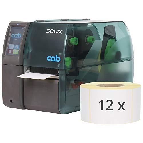 Labelident Starterset - cab SQUIX 4 Etikettendrucker mit Abreißkante inkl. 9000 Etiketten (103 x 199 mm) auf 12 Rollen, 300 dpi - Thermotransfer- und Thermodirektdruck