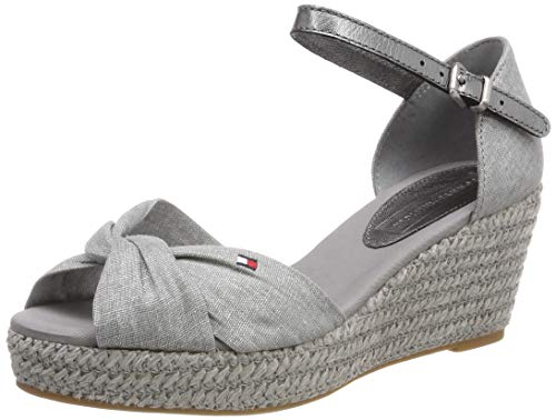 Tommy Hilfiger Damen ICONIC ELBA METALLIC CANVAS Plateausandalen, Grau (Light Grey 018), 41 EU