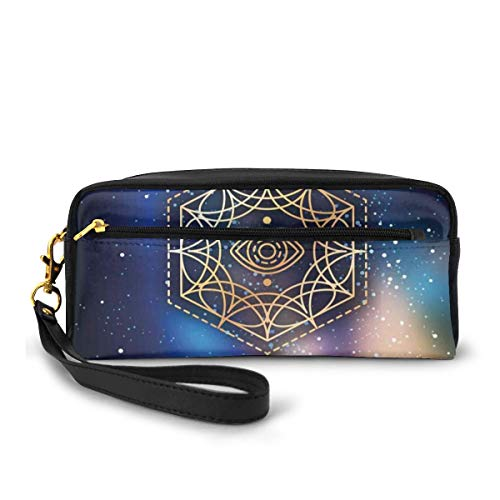 Pencil Case Pen Bag Pouch Stationary,Hexagon Form with The Eye Icon in The Centre on Starry Night Mystic Image,Small Makeup Bag Coin Purse