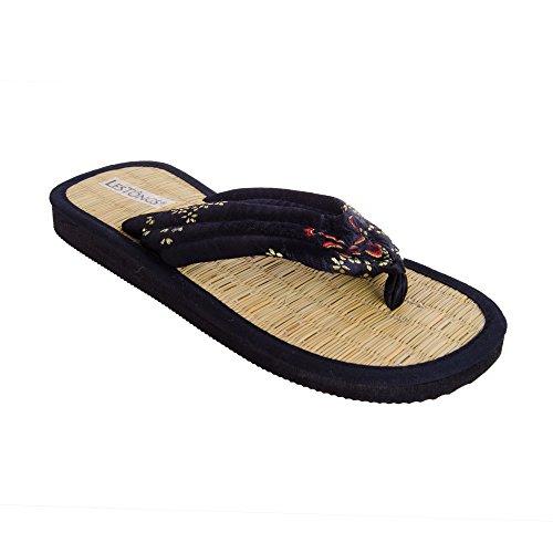 Sonnenscheinschuhe® Zimtlatschen LE DALAT schwarz Brokat Gr. 35-46 NEU Sandalen Zehentrenner Zimt (41/42)