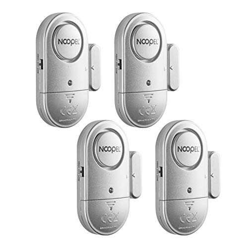 Door Window Alarm 4 Pack New Version with Two Volume Levels NOOPEL Magnet Triggered Burglar Intruder Entry Sensor Alert for Home Security with Batteries Included