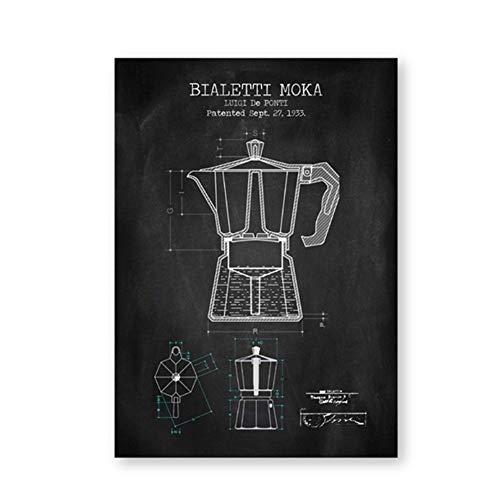 """YangMENGDAN druk op canvas koffiepot patent poster en afdrukken poster koffie blauwe pauze afbeelding canvas schilderkunst keuken muurkunst decor 19.6""""x 27.5""""(50x70cm) Geen lijst4"""