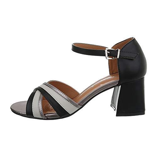 Ital Design Damenschuhe Sandalen & Sandaletten High Heel Sandaletten Synthetik Schwarz Grau Gr. 38