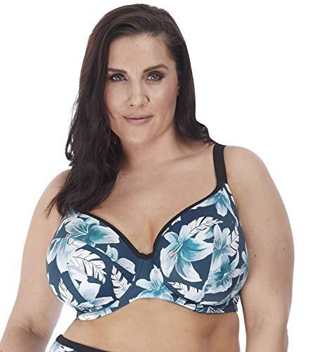 Elomi Plus Size Island Lily Plunge Bikini Top, 42FF, Petrol