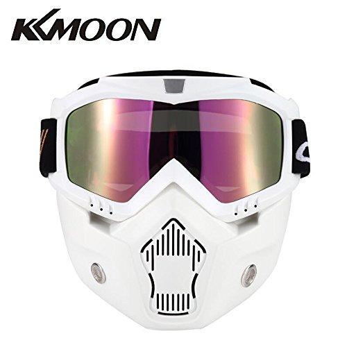 KKmoon Motormasker Staccable Bril en behuizing filter voor open helm Motocross Ski Snowboard wit met gekleurde lens Tipo 4 Bianco con Lente Colorata