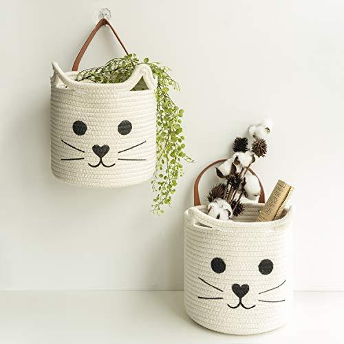 Goodpick 2 cestas colgantes de cuerda – 21,5 x 23 cm para colgar en la pared para llaves en la puerta – Cesta decorativa de regalo para bebés, color blanco