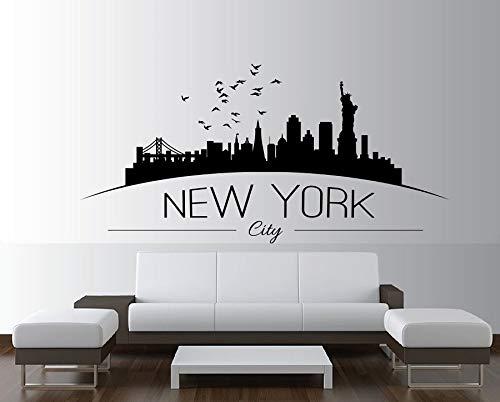 Ofomox Nueva York Skyline New York City View Silueta Vinilo Pared Pegatina Dormitorio Sala de Estar decoración del hogar Pared Decal42x86cm