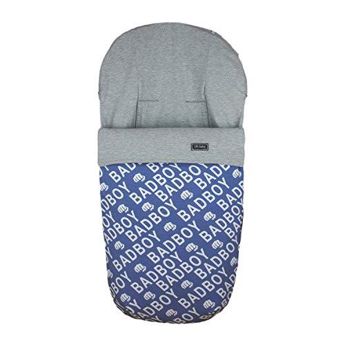 Rosy Fuentes - Saco Silla de Paseo Universal - 10 x 50 x 60 cm - Color Azul Empolvado - Poliéster y Algodón - Equipado para ser Ajustado - Saco Carrito Bebé de Invierno