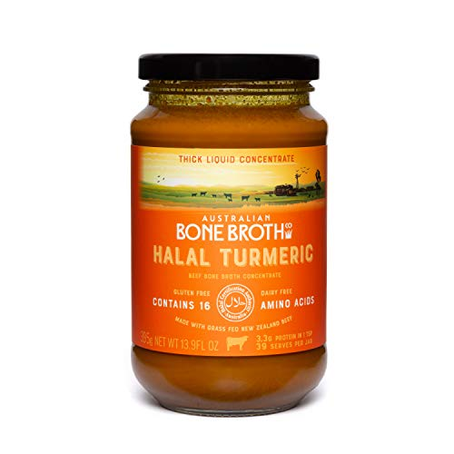 Beef Bone Broth Concentrate- Certified Halal Turmeric –New Zealand Beef - Enhance your Immune, Digestive and General Well-being- 39 Serves 395grams- Made in Australia