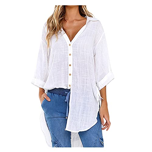 NAQUSHA Vestido midi de lino de algodón para mujer, casual, talla grande, con botones, solapa suelta, camisa lateral anudada